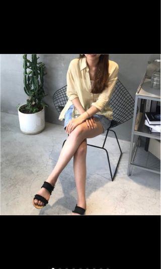 二手透視淡黃造型襯衫