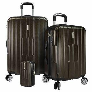 Traveler's Choice Pasadena 3pc Expandable Hardside Spinner Luggage Set Brown Carbon
