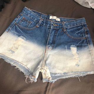 牛仔短褲 漸層牛仔褲 個性短褲
