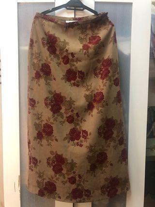 Red Flower Vintage Long Skirt