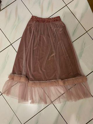 Organza Fur Flare Skirt
