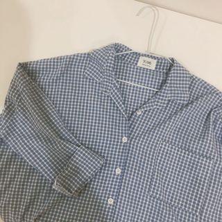 清新小藍格紋襯衫