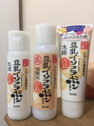 SANA日本帶回 豆乳化妝水乳液洗面乳 送半瓶化妝水