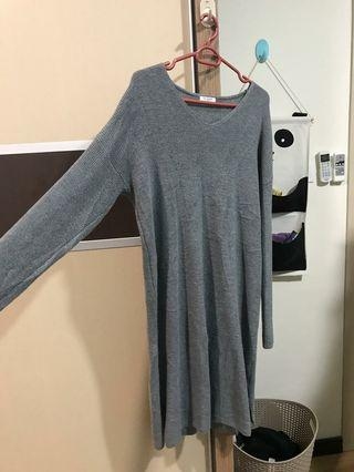 Grey Long Sleeves Dress