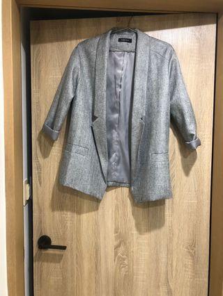 灰 繭型 西裝外套