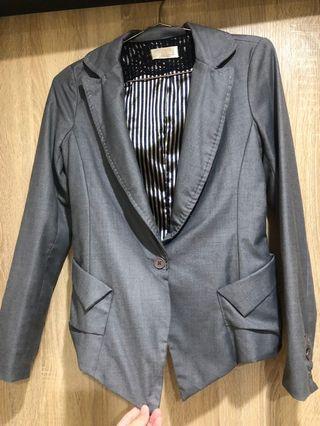 灰 韓 西裝外套