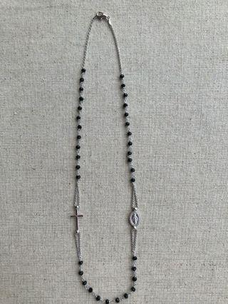 Italian Sterling 925 Silver Rosary Necklace