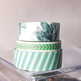 Washi Tapes Green Patterned Aesthetic Bujo Pretty Cheap