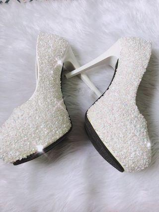 Sparkly White Wedding Bridal Shoes Heels Pumps