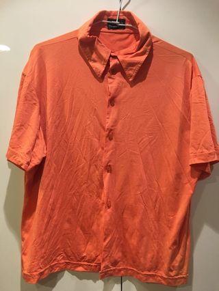 漂瞥亮橘色緞襯衫