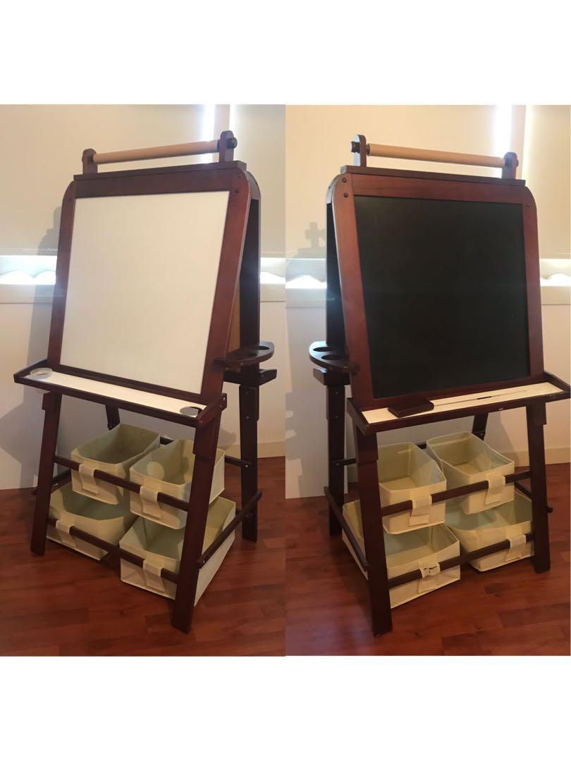 3 in 1 Wooden painting easel and whiteboard for kids