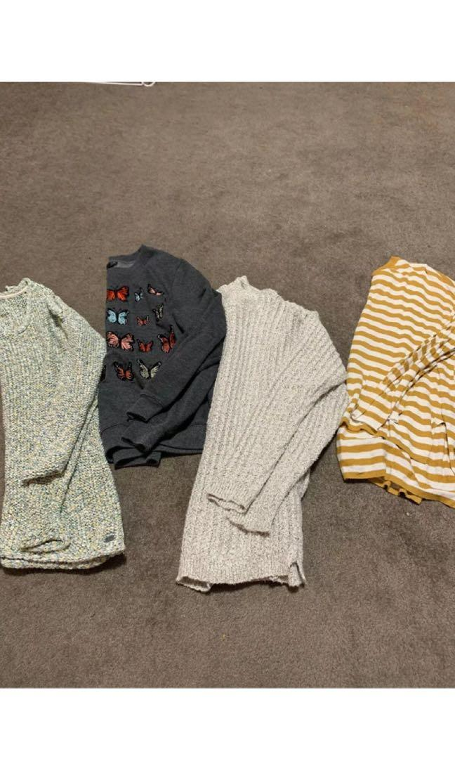 4  Ladies Jumpers, Fits Size Small. Uk Size 8 Billabong/sports Girl/ Topshop/edc