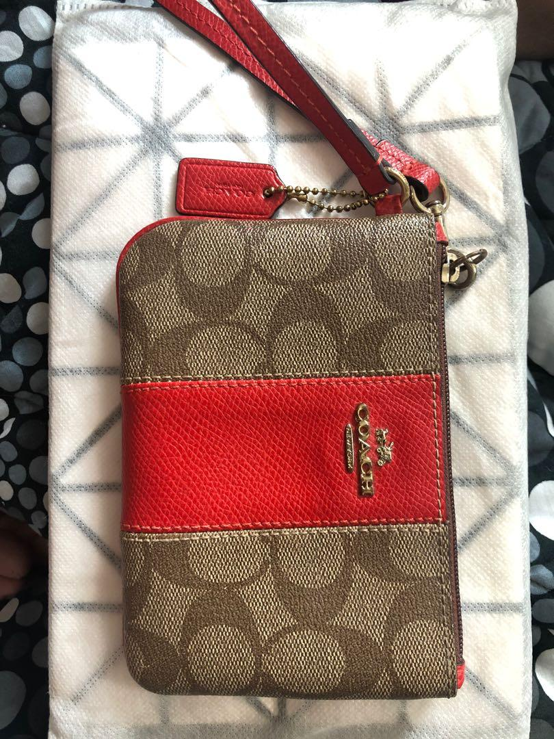 Authentic Coach Signature PVC Leather Small Wristlet