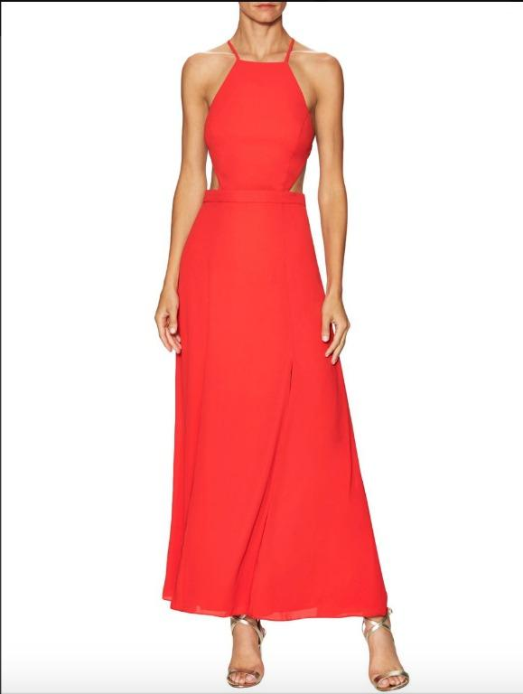 BNWT FAME & PARTNERS RED BACKLESS DREAMER DRESS - SIZE 12 AU (RRP $249)