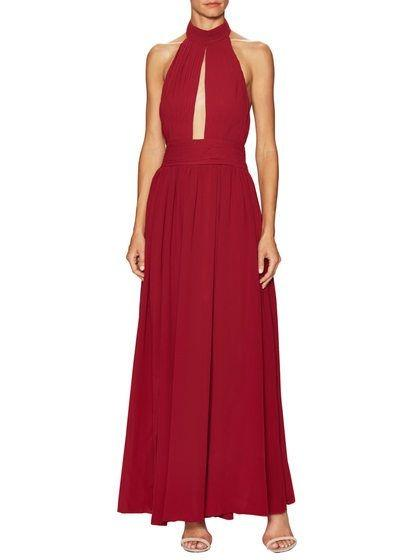 BRAND NEW WITH TAGS FAME & PARTNERS BURGUNDY ROXY GOWN - SIZES 16 AU (RRP $299)