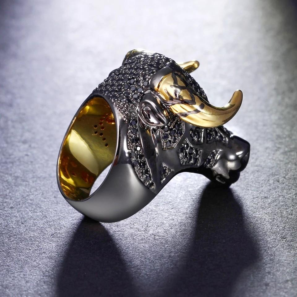 Chunky Black Bull with Golden Color Horns Punk Hip Hop CZ Big Ring