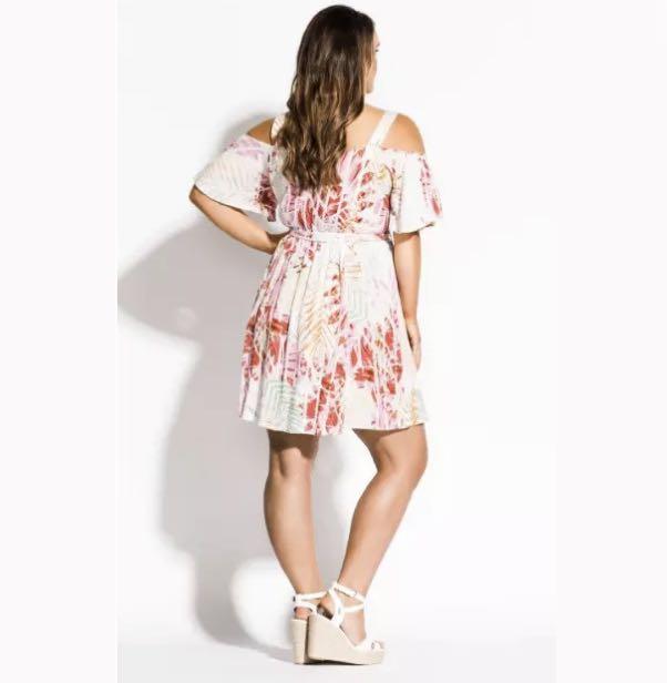 City Chic Cold Shoulder Dress sz 14 16 18 20 22 Ivory Pink Floral
