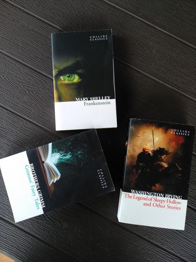 Collins Classics Novels for Sale - Frankenstein by Mary , Grimms' Fairy Tales by Brothers Grimm and The Legend of Sleepy Hollow and Other Stories by Washington Irving