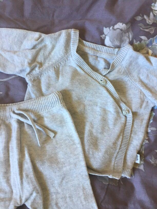 Grey organic cotton baby tracksuit size 00 (3-6 months)
