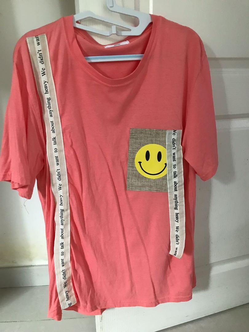 韓國🇰🇷💕粉紅色Happy Smile Tee💕💕💕💕