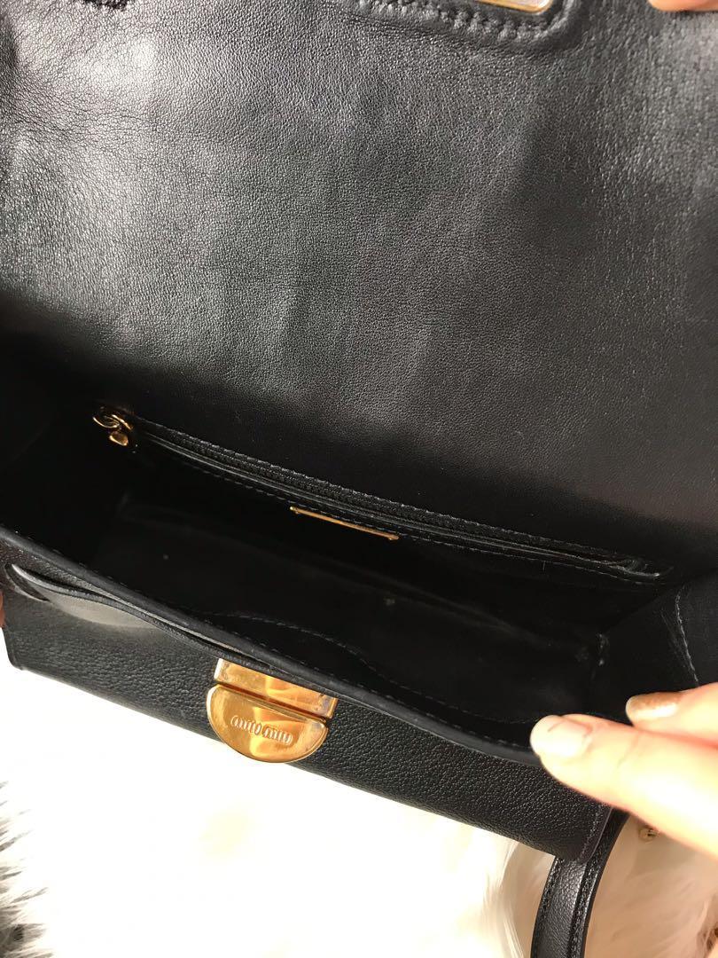 MiuMiu Madras Black Nero Shoulder / Crossbody Bag (Luxury Designer)