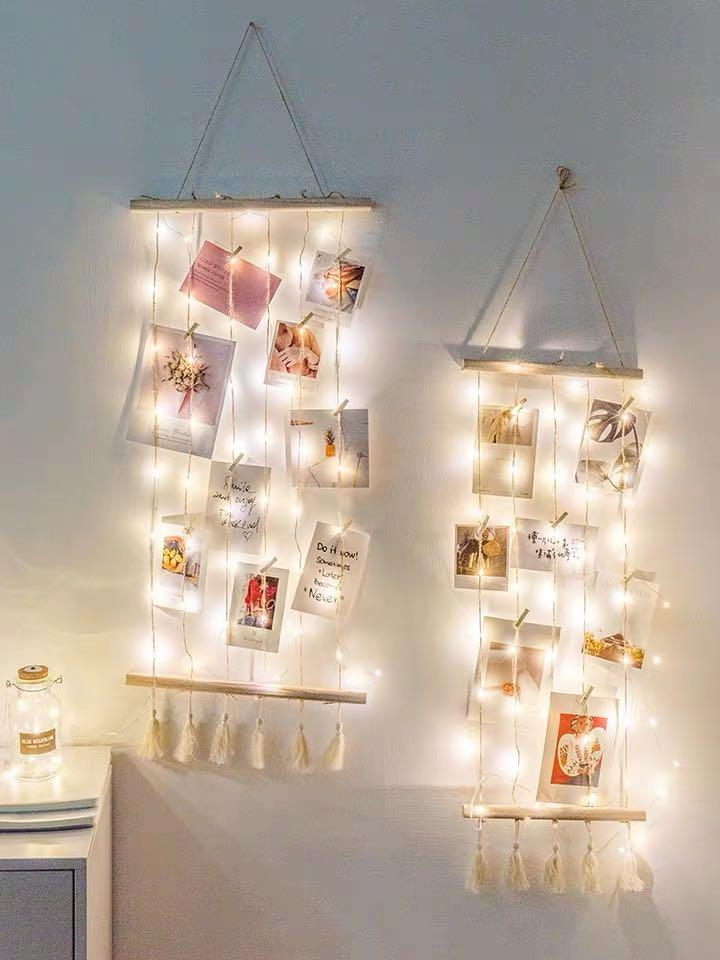 PREORDER fairy lights photo wall decor, Furniture, Home