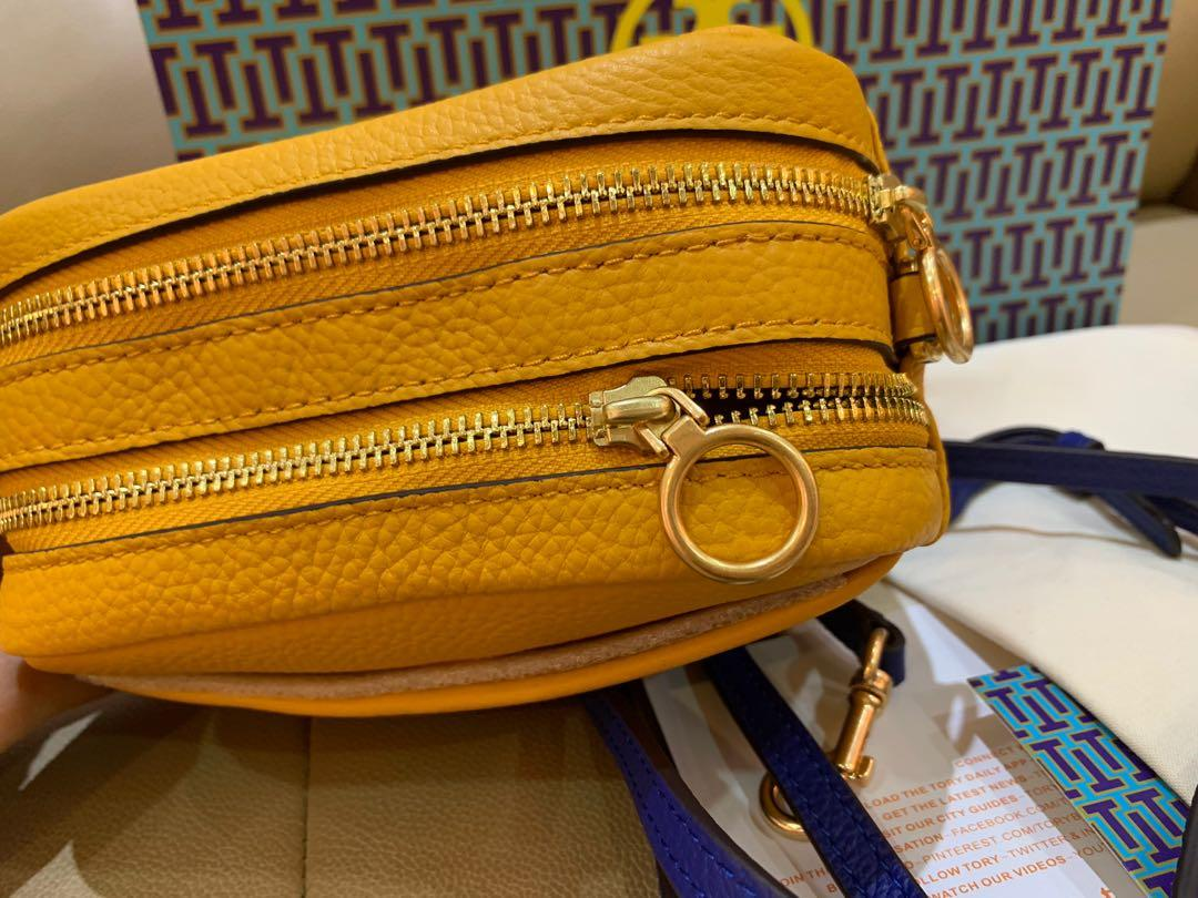 Ready Stock Authentic Tory Burch Perry bombe camera bag in yellow