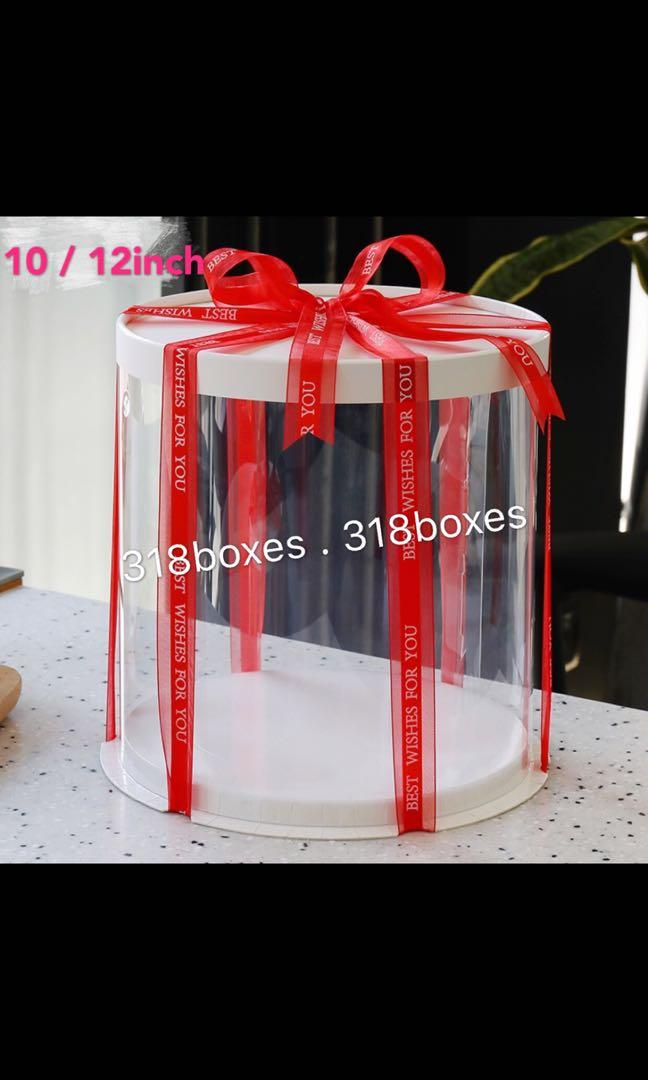 Round cake box 1 / 2 tier transparent gift box party