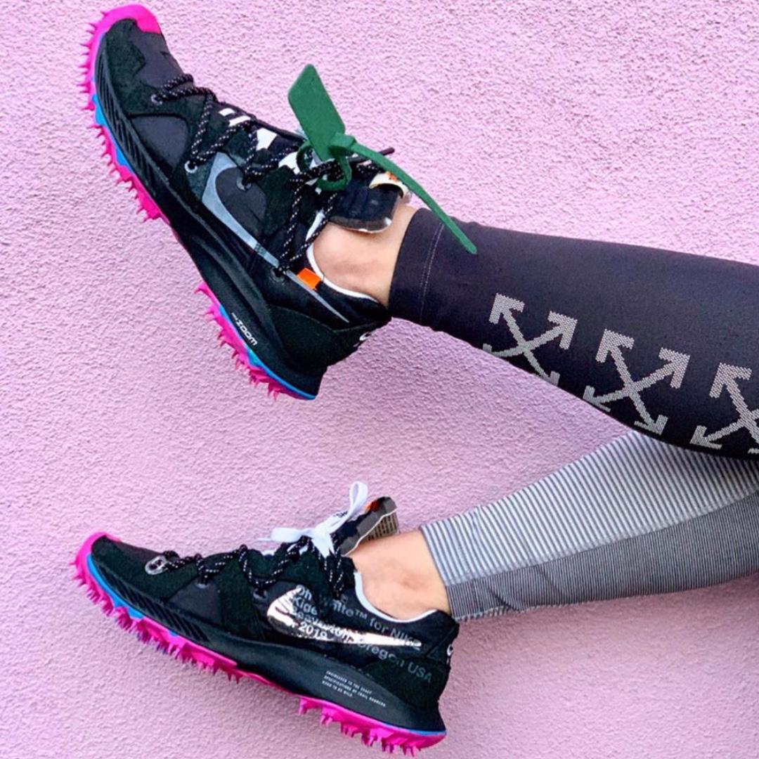 tiendas populares auténtico auténtico ventas al por mayor Off-White x Nike Zoom Terra Kiger 5 (Black/Pink Blast), Women's Fashion,  Shoes, Sneakers on Carousell