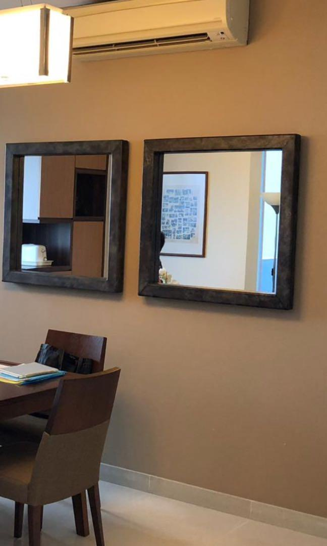Wall Mirror - Faux leather  framed, 33 inch square