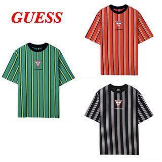 Guess Patch Logo Vertical Stripes T Shirt Tee MJ2K1420