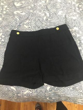 Navy shorts with gold buttons