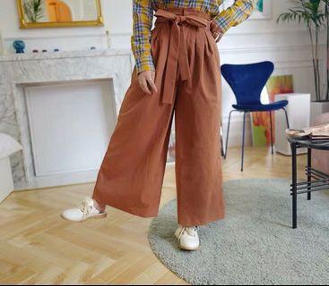 日系高腰綁帶顯腿長咖啡色寬褲