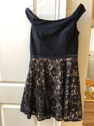 Ladies Black of the shoulder dress. Size 14.
