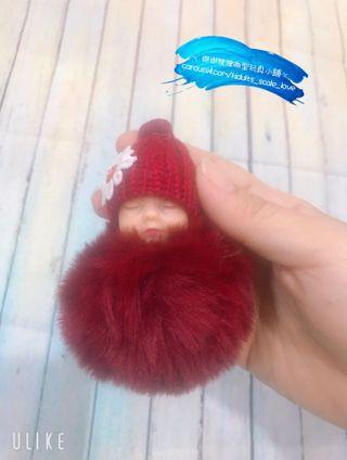 Wine Red 🍷 Sleeping Doll Keychain