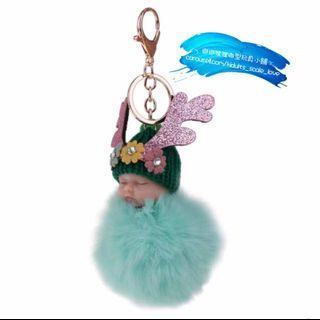 Mint Green  🌱 Sleeping Doll Keychain 薄荷綠色睡娃鎖圈