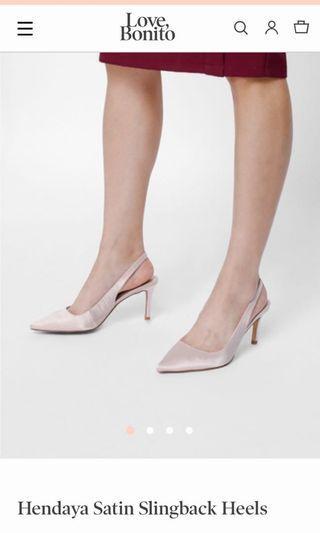 Hendaya Satin Slingback Heels