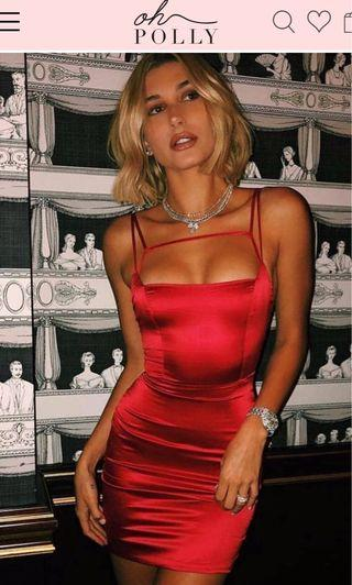 Oh Polly - Run the Show Red Satin Dress