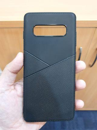 A Galaxy S10+ Plus S10 Samsung Leather TPU Case Cover Black