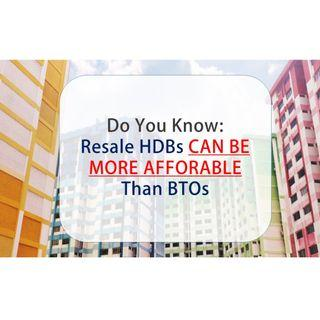 RESALE HDBs MORE AFFORDABLE THAN BTOs