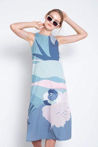 All Would Envy AWE Horizon Side-Slit Midi Dress Dusk