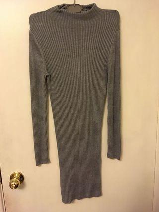 Forever 21 Grey Knit Turtleneck Sweater Dress