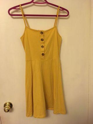 Forever 21 Yellow Skater Dress