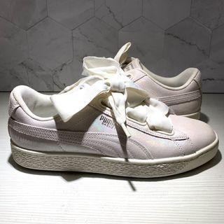 Joan《Puma》Basket Heart White 蝴蝶結鞋 亮面 米白色 慢跑鞋