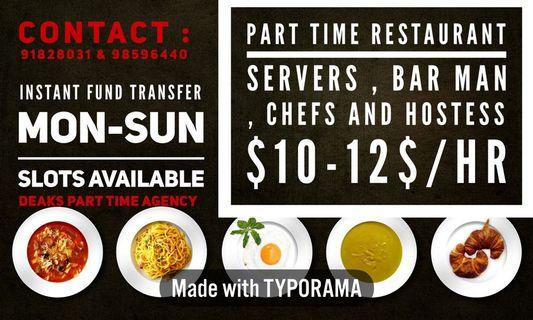 Part time restaurant  jobs Singapore /banquet jobs