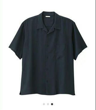 gu 深藍色襯衫 寬版 短版