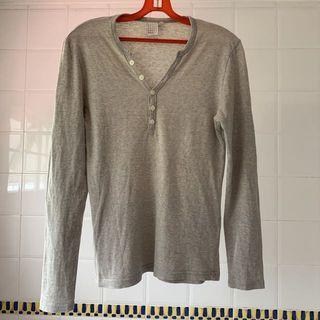 Topman Long Sleeve Henley T-Shirt