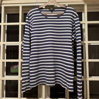 Uniqlo Washed Striped Crew Neck Long Sleeve T-Shirt