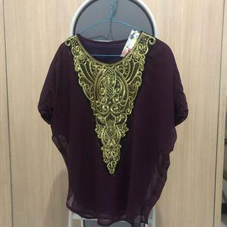 Purple gold blouse