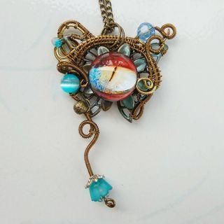 Butterfly Flower Evil Eye In The Garden Pendant Wire Wrap Art Jewelry Necklace